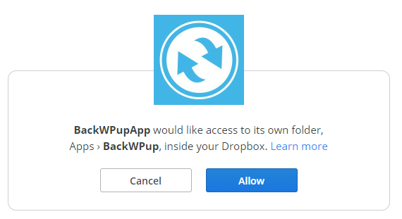 Setting up Dropbox's API with BackWPup