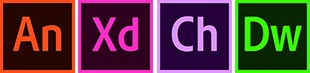 These are icons for Adobe Products: Animate, XD, Character Animator and Dreamweaver.