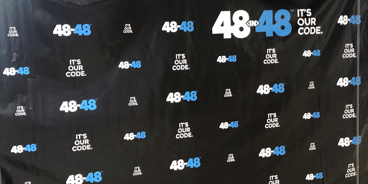 48in48 Background Banner at the event in Wynwood