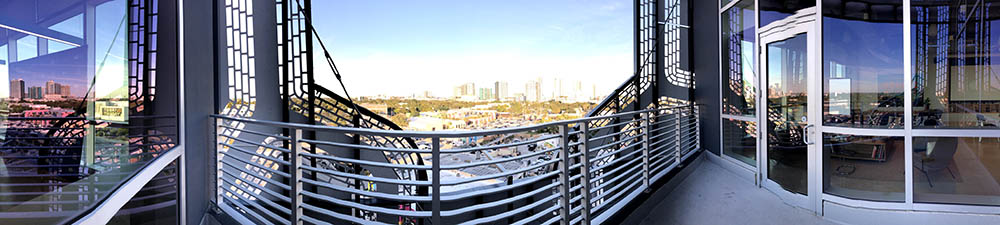 Panoramic view of WeWork's patio at the 48 in 48 Event